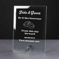 Personalised Engraved Glass Plaque Wedding Day Bride and Groom Gift WED-1