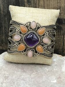 Barse Madeira Cuff Bracelet-Mixed Stones- Bronze- New With Tags