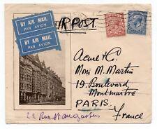 1930 Advertising envelope - Hotel somewhere?? via Air Mail to Paris France.