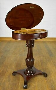 Antique continental pedestal sewing table - hall table - side table - with KEY