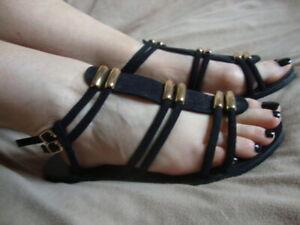 CARVELA Ladies Black Suede strap sandals  UK5- EU38