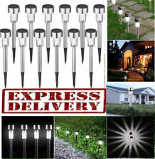 12 pcs Outdoor Garden Stainless Steel LED Solar Landscape Path Lights Yard Lamp