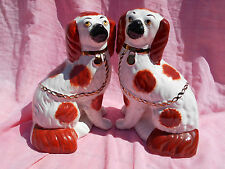 PAIR OF LARGE VINTAGE STAFFORDSHIRE RED & WHITE FIRESIDE WALLY DOG FIGURINES