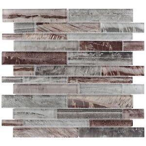 Modern Linear Grey Glass Mosaic Tile Backsplash Kitchen Wall Bathroom MTO0201