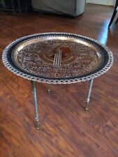 """Vintage Hand Made Copper Egyptian Table 19-1/2"""" Wide Made In Egypt Brass Legs"""