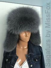 Blue fox fur ushanka. Gray. Genuine leather top.