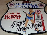 "VINTAGE 1958 ""HOLLY'S HUMBLE GASOLINE ROUTE 66"" 11 3/4"" PORCELAIN METAL OIL SIGN"