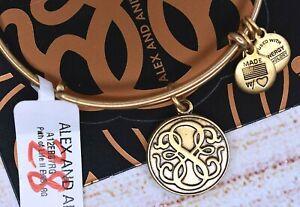 NEW NWT Alex and Ani Path of Life II Charm Gold Bracelet W/Card