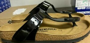 NEW Birkenstock Gizeh BS Thong Sandals Black Patent - 37 6 6.5 Hollow Logo  #178