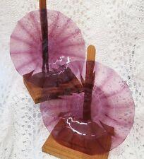 STEUBEN PAIR OF BEAUTIFUL RIBBED AMETHYST ART GLASS PLATES