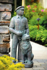 "32"" POLICEMAN with DOG K9 police outdoor garden statue"