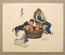 Vintage 1970's Norman Rockwell A Lickin' Good Bath Embossed Print 1