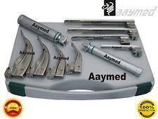 FIBER OPTIC Laryngoscope Mac + Miller Set of 8 BLADES & 2 HANDLES DHL FADEX DELI