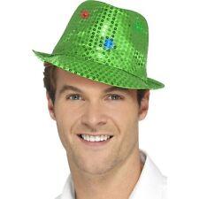Women's Men's Green Light Up Sequin Trilby Fancy Dress Hat Hen Stag LGBT Fun
