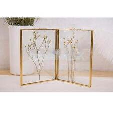 """Freestanding Picture Frame Antique Brass Double Sided Glass 7.87 x 7.87"""""""