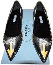 Prada Logo Graffiti Print Flat Loafer 37.5 Ballerina Ballet Pointed Toe Shoes