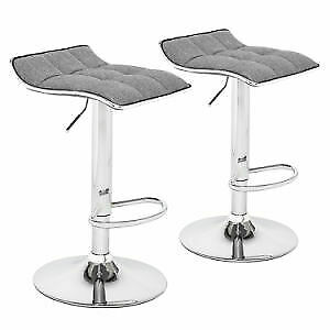 2 Adjustable Swivel Barstools, with Chrome Base, Gaslift Pub Counter Chairs
