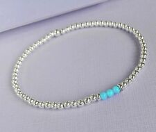 OPAL fire blue Solid Sterling Silver 925  stacking beading Stretch Bracelet