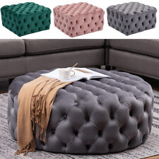 Chesterfield Button Plush Velvet Round/Square Pouffe Footstool Coffee Table Seat
