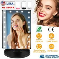22 LED Touch Screen Makeup Mirror Tabletop Lighted Cosmetic Vanity 360 Rotate
