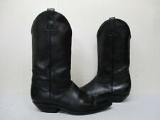 BLack Leather Pointed Toe Cowboy Boots Mens Size 8 E Style 60550