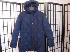 LANDS' END Sz M / P 10 - 12 Navy Blue Down Womens Hooded Jacket / Coat
