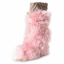 Moncler Women's Pink Real Fur Leather Wedges Ankle Boots Shoes US 10 IT 40