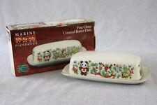 Toys for Tots BUTTER DISH Covered XMAS Marine Foundation Vtg Holiday Dinnerware