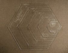 """1/8"""" Clear Acrylic Laser Cut Quilting Template - Hexagon Tool 1-5 inch"""