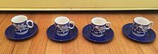 Set of 4 Pagnossin Treviso Italy Tea Cup and Saucers- Blue And White
