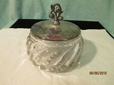 VINTAGE CRYSTAL GLASS CANDY NUT DISH WITH SILVER LID AND SWIRL PATTERN