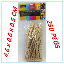 250 PK SMALL CRAFT PROJECT DECORATIVE WOODEN NATURAL COLOUR PEGS PEG PACKAGE AP