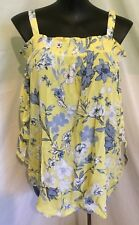 "AUTOGRAPH LEMON & BLUE ""FLORAL"" OFF SHOULDER CHEESECLOTH TOP-SIZE 26-NEW IN"