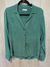 Equipment Silk Forest Green Blouse Shirt Top Size Medium