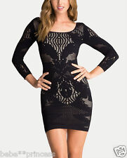 NWT bebe XXS XS S black nude slash over all lace floral aby bodycon top dress