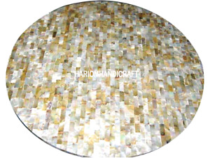 Marble Modern Coffee Table Abalone Stone Inlaid Mosaic Beautiful Art Decor H3009