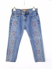 KEN Brook Femme Vintage broder embellir Boyfriend Denim Jeans Bleu Sz M AY57