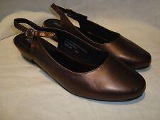 Angel Steps Bronze Sling-Back Dress/Low Heel Shoes Sz 8.5 NEW