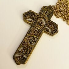 Dickson's Nativity Cross Gold Tone Rope Chain Necklace Ornament