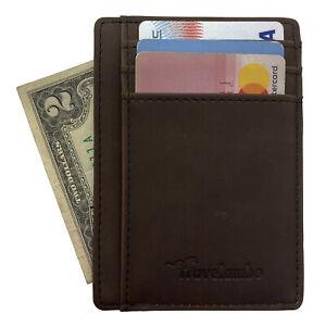 Travelambo Front Pocket Minimalist Leather Slim Wallet RFID Blocking (Coffee)