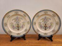 """Set of 2 Lenox Blue Tree Gold Trim & Backstamp 10 5/8"""" Dinner Plates"""