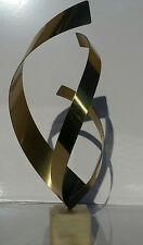 "Curtis Jere 26"" Abstract Metal Sculpture W/Polished Marble Base 1981"
