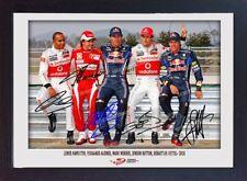 Lewis Hamilton Fernando Alonso Mark Webber Jenson Button Sebastian Vettel Firmado