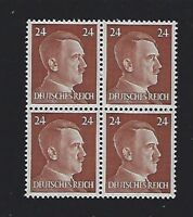 MNH  Adolph Hitler stamp block / 1941 PF24 / Original Third Reich Germany Block