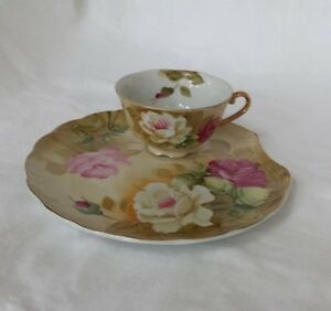 LEFTON Hand Painted China Heritage Brown Floral Plate and Footed Cup Snack Set