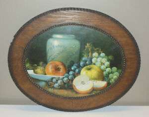 Antique 19th C. Print Still Life Fruit w Oval Wood Frame Apples Grapes & Vase