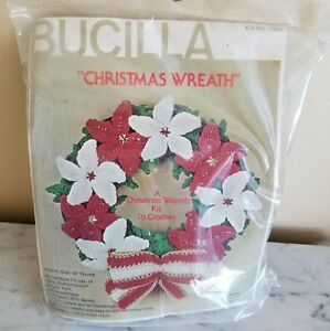 "VTG Bucilla Christmas Wreath Kit #7863 10"" Red & White Flower Crochet New Sealed"