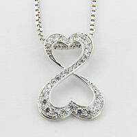 """Sterling Silver 925 Ladys Heart Infinity Pendant Womens 18"""" Necklace Chain Gift"""