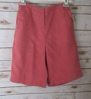 L.L. Bean Womens Sz 8 Coral Pink 100% Flat Front Linen Shorts Small
