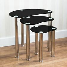 Cara Nest Of 3 Tables Black Silver Glass Modern Furniture New By Home Discount
